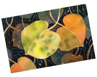Original watercolor, Leaf Tango, 6x9