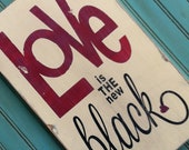 LOVE is the new Black Heavily Distressed Sign in cream Vintage Style