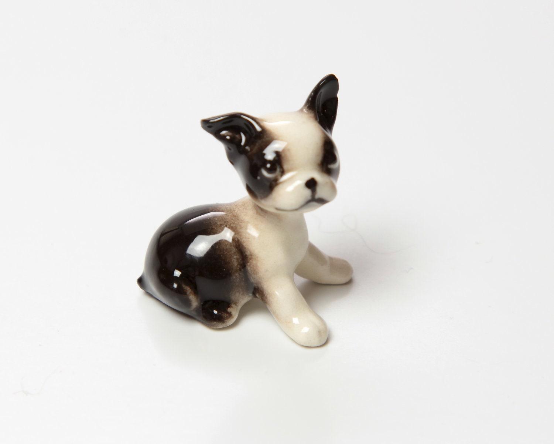 Mini Of Monrovia >> Boston Terrier Puppy Sitting Figurine Ceramic by ...