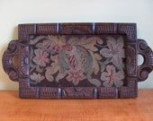 Vintage 1920s Estate Find Hand Carved Wooden Serving Tray with Floral Needlepoint center