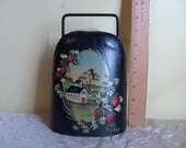 Vintage Collectible Folk Art American Farm Hand Painted Ann Hunker Rustic Large Forged Iron Cow Bell