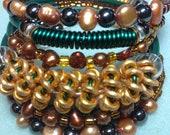 Unique Artistic Jewelry Pearl Hematite Bracelet CHELSEA COLLECTION