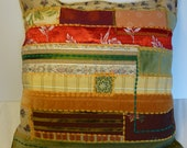 patchwork cushion cover, recycled vintage fabrics