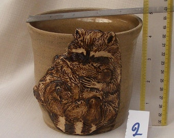 SALE, Gift for Mom, Raccon Stoneware Ceramic Vase , Utensil Holder No.2
