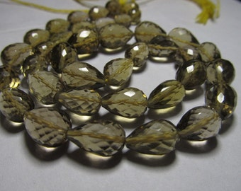 8 inches Full Strand - AAAA - High Quality BEER Quartz - Faceted Center Drilled Tear Drops Briolett Huge size - 10 - 12 mm approx