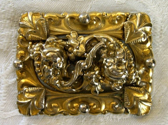 Vintage Rectangular Rococo Brass Pin Brooch