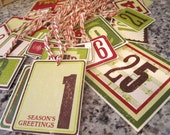 Advent Gift Tags, Set of 25, Let the Countdown Begin, 25 Days until Christmas, Advent Calendar