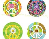 Peace Sign Designs (Hippie & Funky)  Bottle Cap Image Set - One Inch Circle Digital Image Sheet for Pendant Jewelry, Hairbows, and more