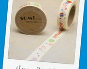 HAPPY BIRTHDAY - roll of Washi Tape (15mm x 10m ) with Hearts and Balloons