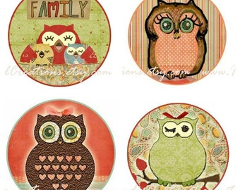 Whimsical Owls Bottle Cap Image Set - One Inch Round Circle Digital Image Collage Sheet for Pendant Jewelry, Hairbows, and more