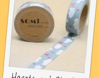 HEARTS and CLOUDS or SWEETHEARTS - rolls of Washi Tape (15mm x 10m )
