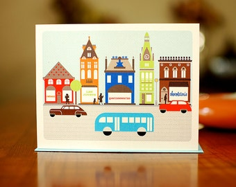Happy Mod French Village Blank Card on 100% Recycled Paper
