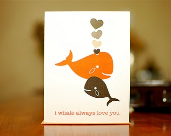 I Whale Always Love You New Baby Card with Whales & Hearts (100% Recycled Paper)