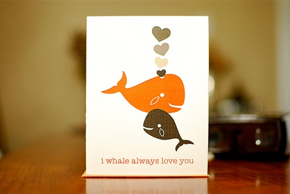 I Whale Always Love You Father's Day or New Baby Card with Whales & Hearts (100% Recycled Paper)