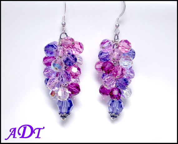 Pastel Colored Crystal Waterfall Earrings in Rose, Fucshia, Tanzanite and AB Crystal
