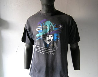 80s Swatch in Time Cosmic series black cotton tee shirt - 1986 vintage SWATCH collectible - Travis Gemini - Estheroid Brown - size L
