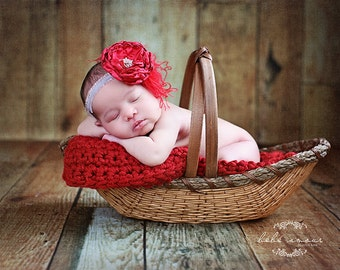 Chunky red newborn baby blanket photo prop basket bucket bowl