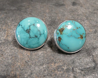 Large Round Southwester Turquoise Earrings OOAK