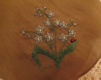 Hand Embroidered Silk Scarf Handmade in Australia