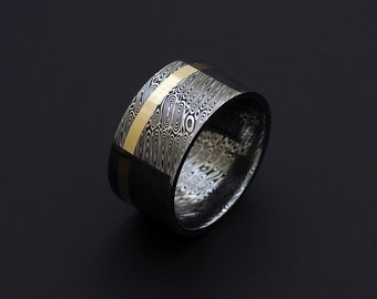 Genuine stainless Damascus Steel and 18K Yellow Gold Mens Ring - Width 12mm PD56