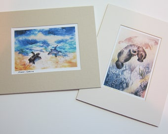 8 x 10 matted 5 x 7 Note Card - YOU PICK any one note card in my shop  watercolorsNmore