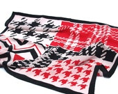 Black and White and Red - Houndstooth and Chevron Print - Vintage Scarf