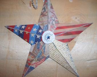 Patriotic Americana Decoupaged Star