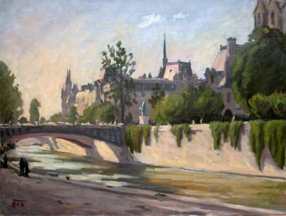 Oil Painting Landscape, Paris, The Seine. Original Oil on Canvas, Impressionist Landscape Painting
