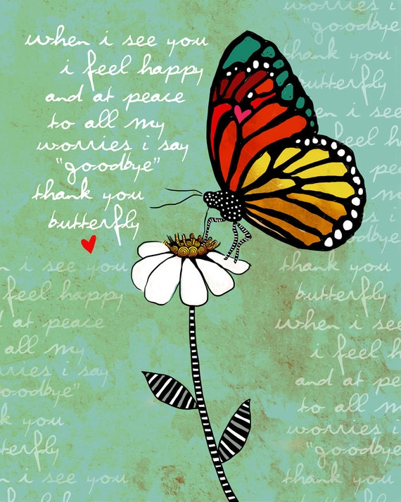 Butterfly / original illustration ART Print SIGNED / 8 x 10 / NEW