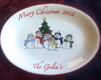 Custom Christmas Platter  Personalized Platter  Holiday Gift Gift for Parents Christmas Gift for Grandparents Christmas Snowman Family Plate