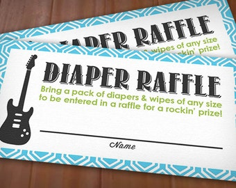 GUITAR Diaper Raffle Ticket in Lime Green and Turquoise Aqua Blue- Instant Printable Download