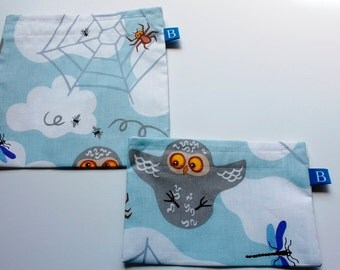 Reuseable Eco-Friendly Set of Snack and Sandwich Bags in Barn Owl IKEA Fabric