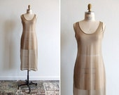 Vintage 1990s sheer stone beige maxi dress
