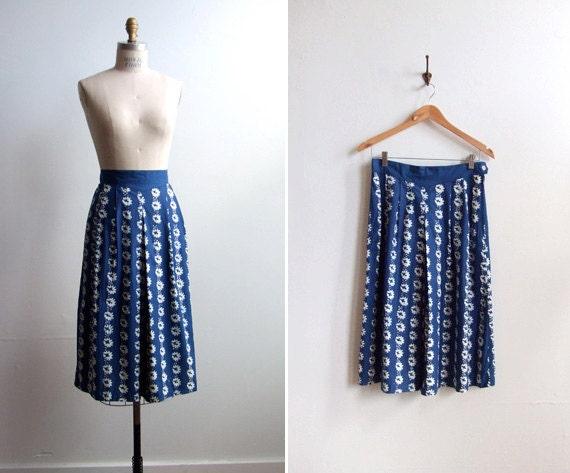 Vintage 1970s blue and white hand-printed full skirt