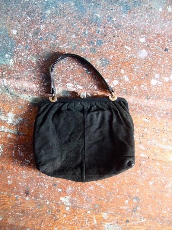 FINAL SALE / Vintage 1950s black suede leather purse