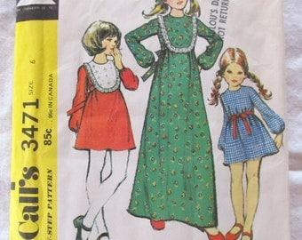 vintage GIRLS DRESS (3 versions)--  McCalls 3471 (1972) --  Girls size 6