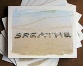 Beach Theme BREATHE Cards sets- calming word spelled out with beach stones in the sand, yoga card, teacher gift, beach cards, beach card