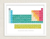Science Chemistry Periodic Table Poster 14 x 11 Giclee Print Unique Teacher Wedding Nursery or Kids Gift - halfpencedesign