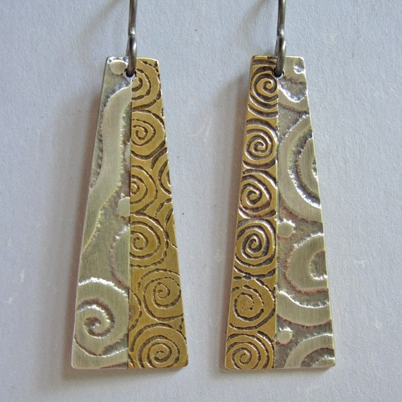 Silver and Brass Flared Rectangle Multi Textured Earrings