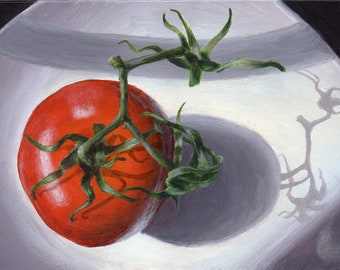 Original Acrylic Painting Small Still Life Painting of Tomato, Kitchen Art for Home Decor in Red, White