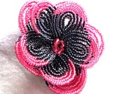 Flower Hair Clip, French Beaded Flower, Pink Tipped Black Petals