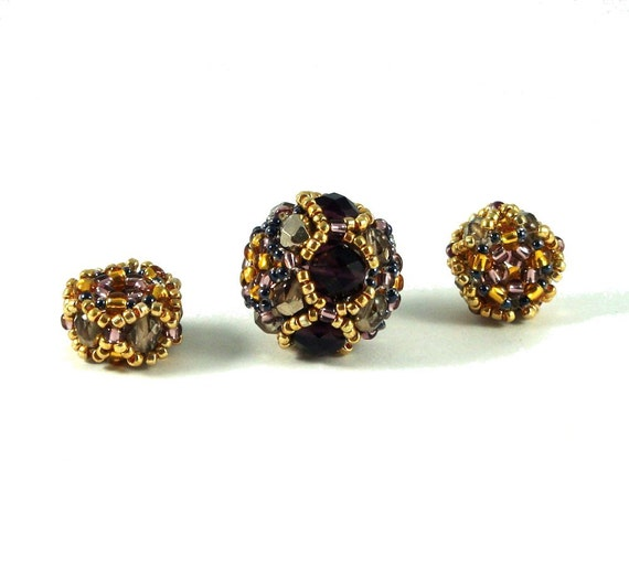 Beaded Bead Set - Round Bead and Two Spacers, Purple and Gold