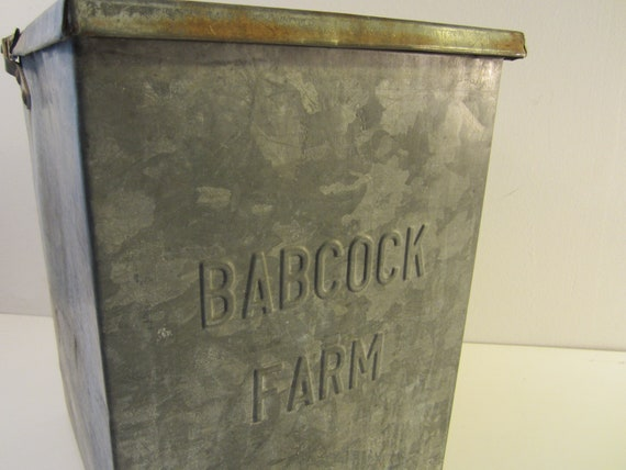 Vintage Babcock Farm Galvanized Metal Milk Box