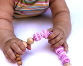 Nursing Teething Necklace Pink Accessory Crochet Necklace Mom Necklace