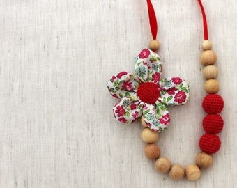 Mom Neckalce/ Nursing Neckalce / Breastfeeding Necklace/Crochet Fabric Necklace / Teething necklace / Crochet Jewelry