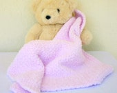 Crochet baby blanket pink soft afghan infant crib bedding fluffy newborn shower gift photography prop bulky washable
