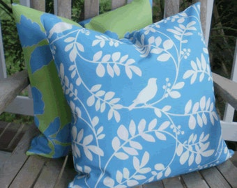 SALE ~ Outdoor Pillow: Dwell Studio 18 X 18 inch Blue Sky and White Outdoor Accent Throw Pillow Cover