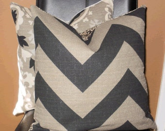 Decorative Pillow Cover: Chevron Design 18 X 18 Accent Throw Pillow Cover in Black and Gray
