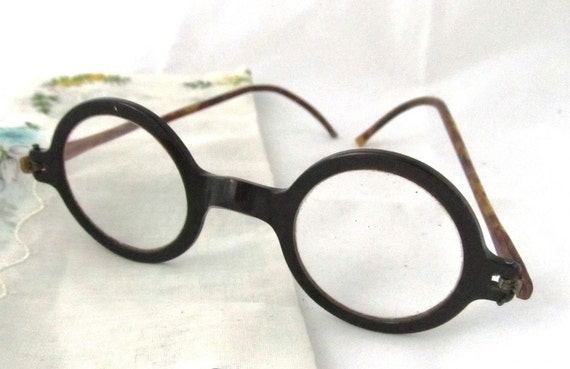 Eyeglass Frame Earpiece : SO STEAMPUNK Vintage 20s 30s Round Eyeglasses by ...