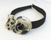 Headband with Blakc White Flowers, Fabric Wrapped, Two Handmade Flowers, Child or Adult